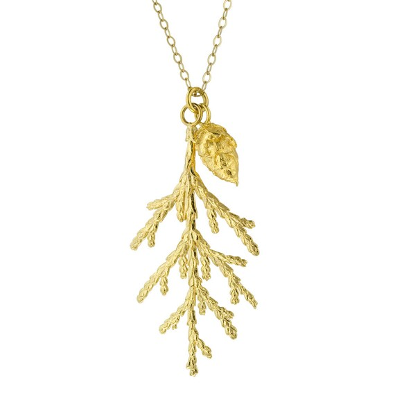 Gold Juniper Branch and Pine Cone Pendant Necklace