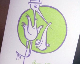 Retro stork linocut baby card