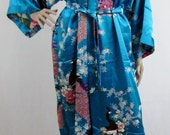 Blue Silk Bathrobe kimono bridesmaid bride mother of the bride house coat dressing gown personalised custom