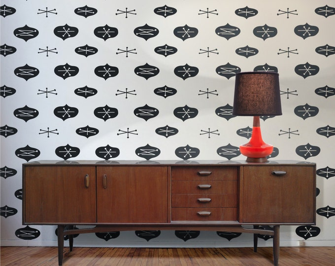 mid century modern vinyl wall decal pattern, abstract, geometric wall sticker art, FREE SHIPPING