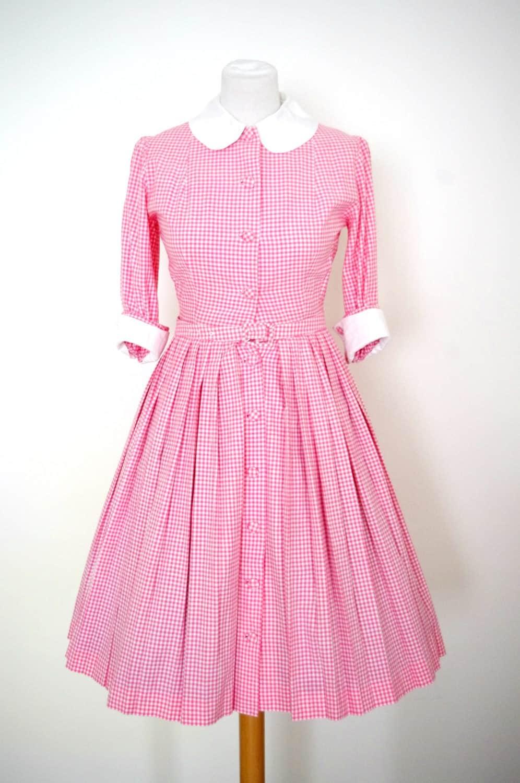 Robe vintage des ann es 50 fa on brigitte bardot vichy rose - Robe des annees 50 ...