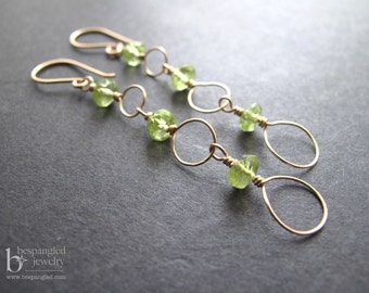 Peridot Earrings - August Birthstone, gemstone earrings, peridot dangle earrings, delicate earrings, long earrings (Gold, Rose Gold, Silver)