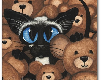 Siamese Cat & Teddy Bears ArT- ArT Print by Bihrle ck361