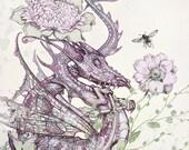 Dreaming Dragon Art Print  - Dragon Fantasy WALL Art Print -  Purple - Green - Cream - Leaves - Childrens Art Print