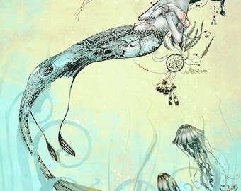 Nautical Print  - Mermaid Jellyfish -  Fantasy Art  Mermaid Print - Turquoise Green Yellow - giclée Fantasy Art Print  - Steampunk Mermaid