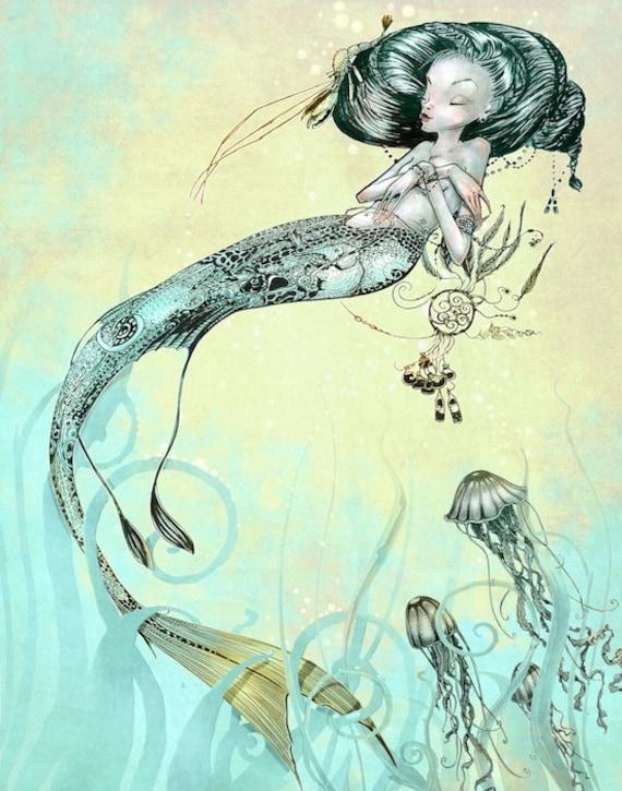 Nautical Print  - Mermaid Jellyfish -  Fantasy Art  Mermaid Print - Turquoise Green Yellow - giclée Fantasy Art Print  - Steampunk Mermaid