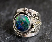 "Custom Deposit listing for ""M"" Deep Fire Australian Black Opal Woodland Dance One of a kind Opal ring"