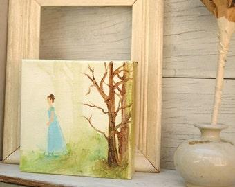 Acrylic Painting Jane Austen Northanger Abbey Inspired Original Art Mini Canvas  - Catherine Morland.