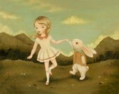 Art for Kids - Let's Do The Bunny Jive Print 14x11 - Nursery Art, Kids Wall Art, Children's Art, Girl, Bunny, Rabbit, Dancing, Forest, Cute