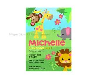 Safari Jungle Animal Zoo Party Invitation for girly birthday or baby shower Invitation Card Printable PDF or JPG   0067_INV