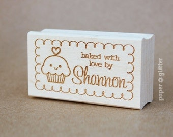 Baked with Love rubber stamp - Personalized Rubber Stamp 0066