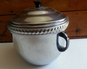 Vintage Pyrex chrome ice bucket with tongs