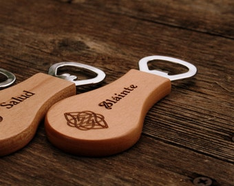 Personalized Wooden Bottle Opener with Magnet