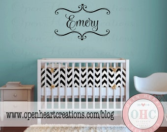 Personalized Name Wall Decal with Accents and Hearts - Monogram Name Vinyl Lettering Sticker 22h X 32w FN0555