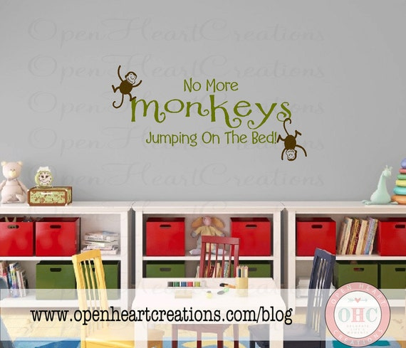 No More Monkeys Jumping on the Bed Vinyl Wall Decal - Jungle Baby Nursery -Twins Vinyl Wall Decal  16H x 34W BA0072