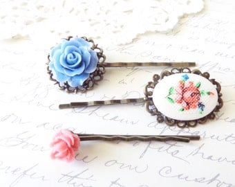 Flower Hair Pin Set - Flower Floral Bobby Pins - Rose Flower Hair Pins - Rustic Woodland Hair Pin Set - Pink Rose Limoges Bobby Pin