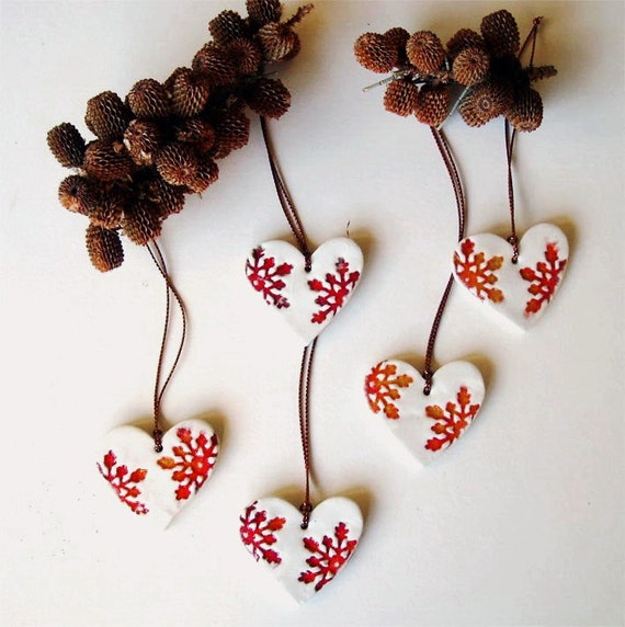 Items Similar To Ceramic Heart Christmas Ornament Red And