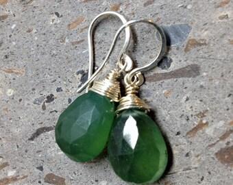 Moss Green Russian Serpentine Faceted Gemstone Earrings - Lichen Green Wire Wrapped Drop Earrings