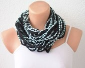 FREE SHIPPING Black Lace Shades Funky Scarf with Pom Poms