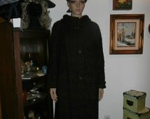 Vintage Women's 50s Mod Nubby Wool ?Doubled Lined  Big Buttons Swing Coat Winter