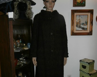 Womens Winter Coat- Nubby Wool ?Doubled Lined - Big Buttons- Swing Womens Vintage Winter Coat