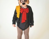 toddler girl cardigan--mustard pleated ruffle on heather charcoal--size 2t--hudson & ruthie