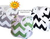 Set of 3 Chevron Newborn Cloth Diapers or covers, gender netral, gray chevron, black chevron, green chevron