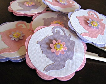 Tea Party Cupcake Toppers, Grace, Tea Party, Teapot Shower, Teapot Party, Bridal Shower, Shower Cupcake Topper, Tea Party Topper, Set of 12