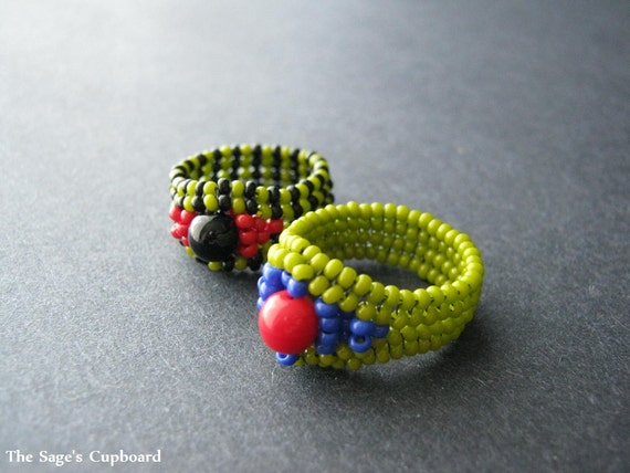 Green Beetle Ring Duo. Egyptian Two Piece Beaded Ring Set