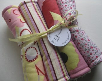 "Burp Cloth Set of 4 ""Pretty Pretty Princess"" Pink Yellow Stripes Flower"