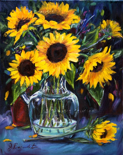 Sunflower Oil Painting Original Art Impressionism Yellow