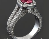 Antique style diamond engagement ring featuring a 1.48ct cushion cut red ruby center RUB2
