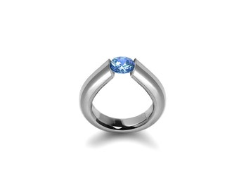 Blue Topaz Tension High Setting Ring in Stainless Steel
