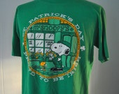Vintage 80s Snoopy Tee St Patricks Day Proud to be Irish Ireland TShirt Comics Cartoon Super Soft and Thin Near Burnout LARGE