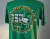 Vintage 80s Snoopy Tee St Patricks Day Proud to be Irish Ireland TShirt Comics Cartoon Super Soft and Thin Near Burnout LARGE