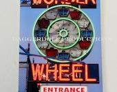Carnival Neon Sign Photo- Metallic 9X6 Print- Fine Art Photography- The Wonder Wheel Coney Island