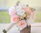 Silk Bridal Bouquet Wildflowers Pink Roses Baby's Breath Rustic Chic Wedding #BraggingBags