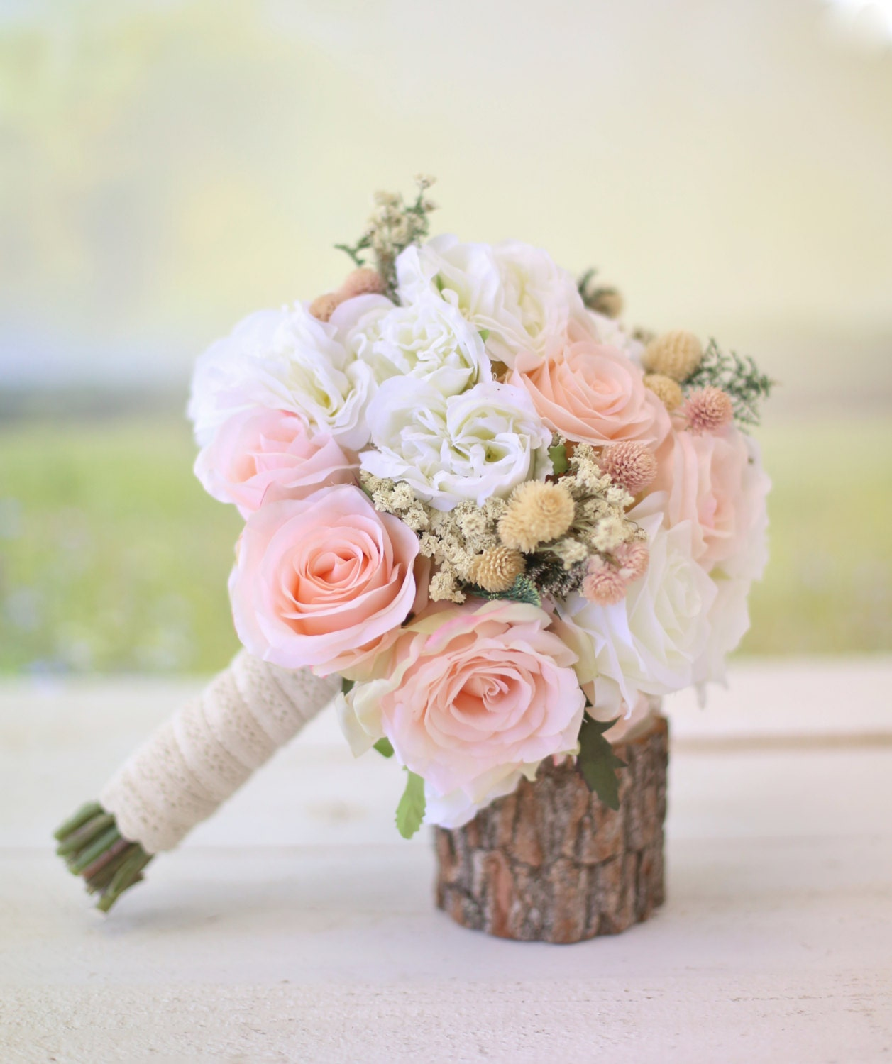 Pink Wedding Flowers: Silk Bridal Bouquet Wildflowers Pink Roses Baby's By
