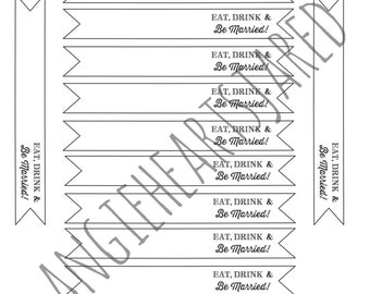 Printable Flags Eat, Drink and Be Married PDF Instant Download