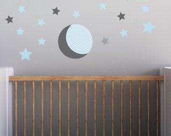 Gray Moon, Moon Wall Decal, Stars Wall Decal, Aqua Stars, Baby Nursery Decal. Moon and Stars Wall Decal