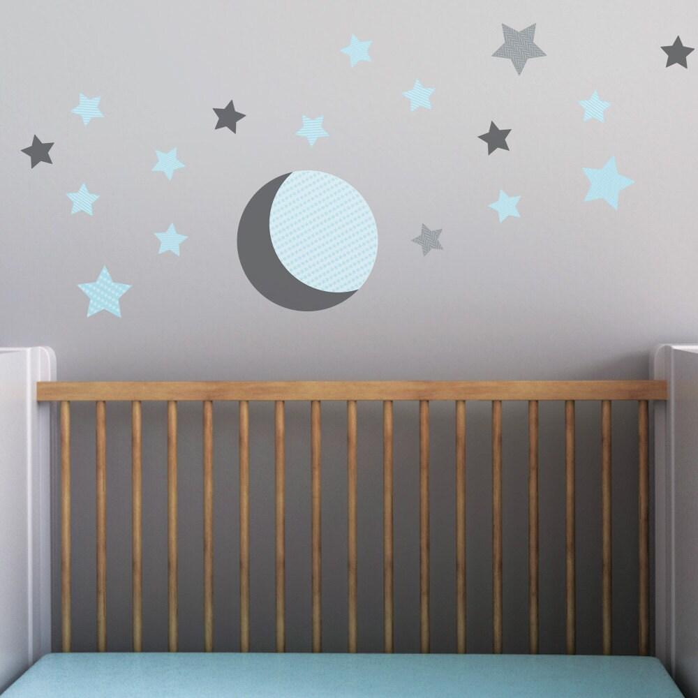 gray moon moon wall decal stars wall decal aqua stars baby. Black Bedroom Furniture Sets. Home Design Ideas