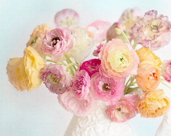 Ranunculus Photography -  Romantic Floral Still Life Photograph, Pink and Purple Shabby Wall Decor