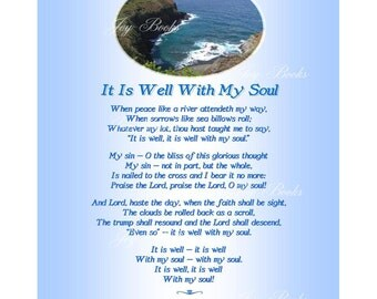 It Is Well With My Soul AKA When Peace Like A River 8x10 Printable Instant Art DIY JPG Digital Download Christian Heritage Hymn Lyrics Photo