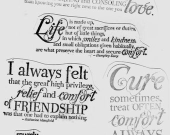 Words of Comfort - Great Set of 8 New UM Stamps - Cards - Collage - ATC - Domino Art - Crafts - FREE Shipping