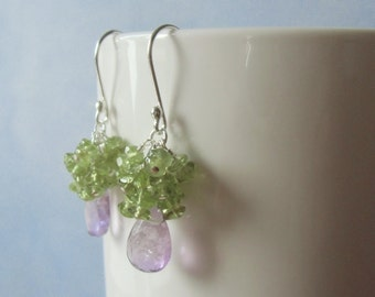 Lilac amethyst briolettes, and  peridot dangle earrings