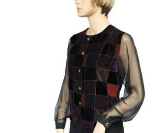 Vintage Velvet Blouse Velvet Jacket Dressy Sheer Blouse Patchwork Size 10 Petite