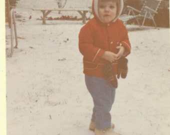What Is This Stuff Southern Girl in the Snow Toddler 1960s Vintage Color Photo Photograph