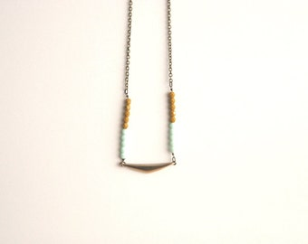 Geometric Mustard Mint Long Tribal Necklace // Bohemian Necklace // Colorful Aztec Necklace// Geometric Necklac