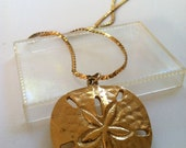Vintage SAND DOLLAR Goldtone Long Dangly Necklace // FRee US Shipping
