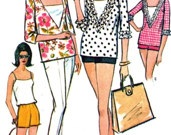 Vintage McCall's 7338 Sewing Pattern -  1960's Misses' Shorts, Sun Top, Blouse or Pants - Size 12 * bust 32